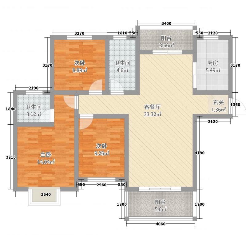 惠邦・联盟新城128.55㎡高层K1户型3室2厅2卫1厨