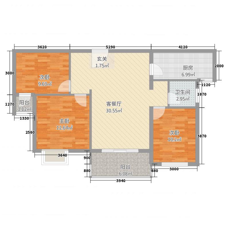 惠邦・联盟新城112.52㎡高层K2户型3室2厅1卫1厨