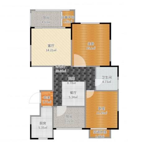 惠泽云锦城1室2厅1卫1厨100.00㎡户型图