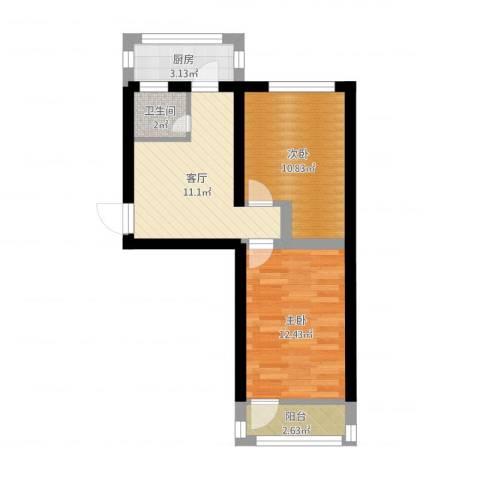 模式口西里2室1厅1卫1厨53.00㎡户型图