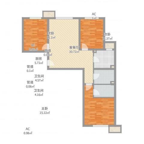 锦绣园自住型商品房3室2厅2卫1厨109.00㎡户型图