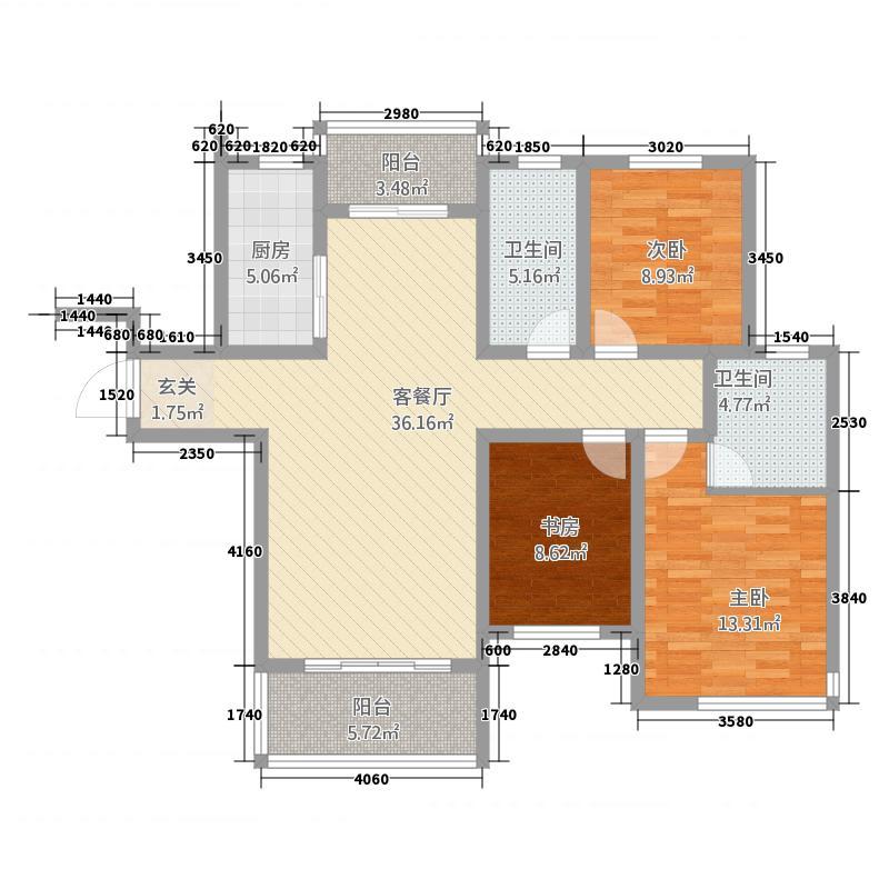 惠邦・联盟新城132.63㎡高层K3户型3室2厅2卫1厨