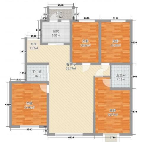 浦新教师公寓4室2厅2卫1厨154.00㎡户型图