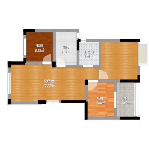 东润枫华2室2厅1卫1厨78.00㎡户型图