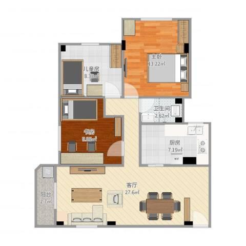 如意楼3室1厅1卫1厨89.00㎡户型图