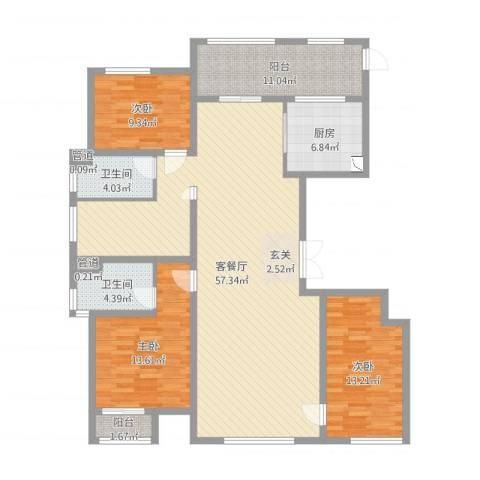 万正广场3室2厅2卫1厨121.78㎡户型图