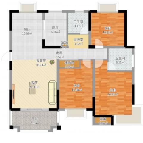 北城名郡3室2厅2卫1厨141.00㎡户型图