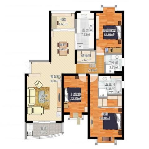 华丽家族花园3室2厅2卫1厨154.00㎡户型图
