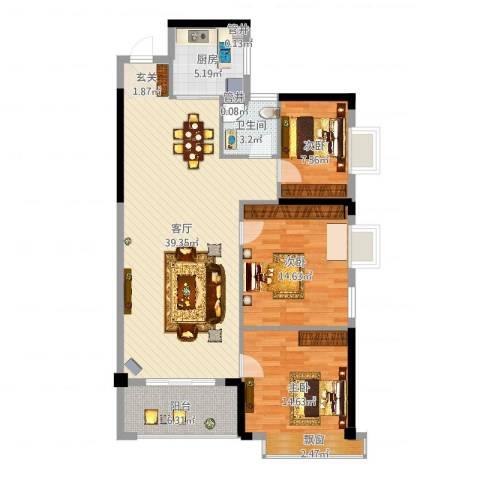 怡景苑3室1厅1卫1厨114.00㎡户型图