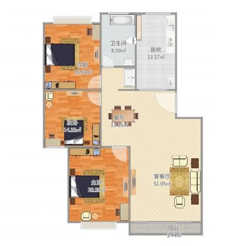 龙沟新苑3室2厅1卫1厨169.00㎡户型图
