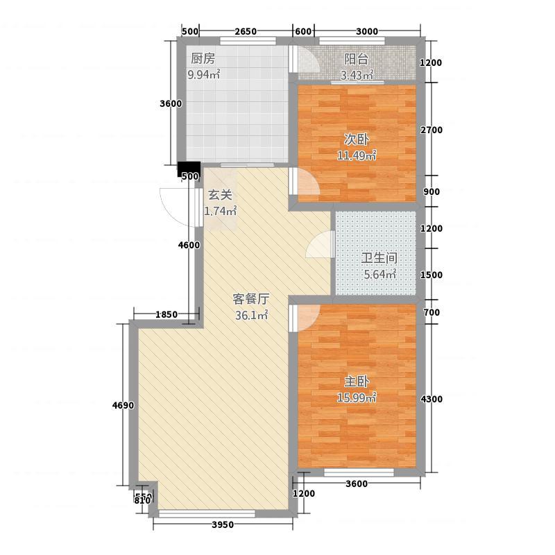 北大新城4221118.00㎡d户型2室2厅1卫1厨