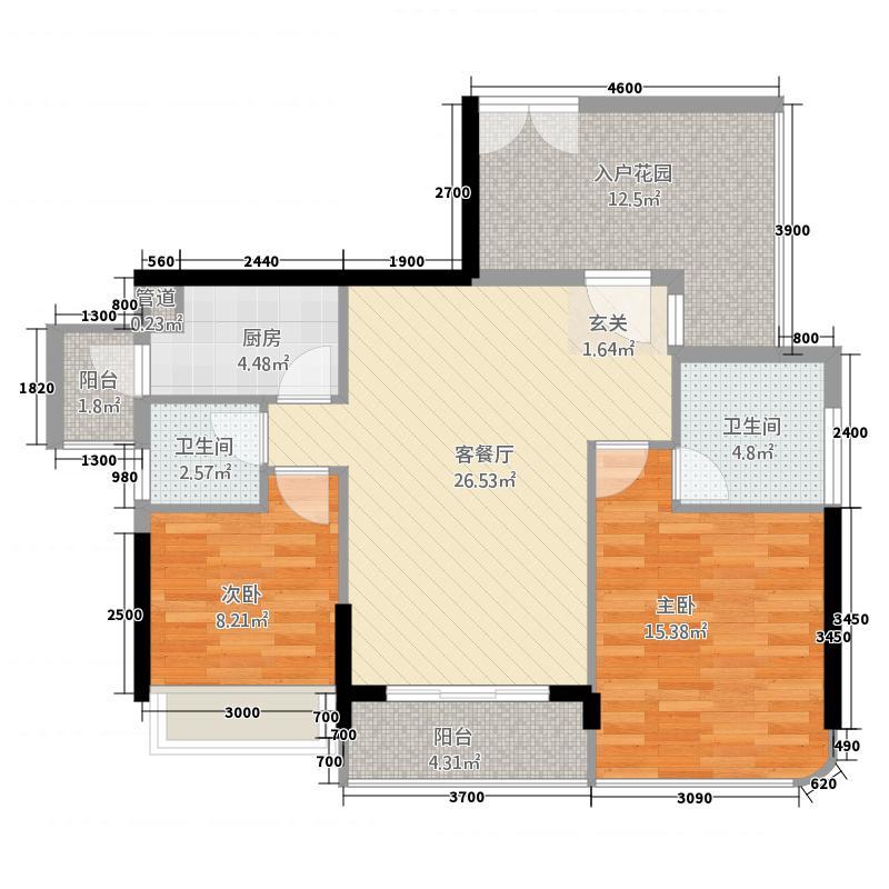 东方・比华利山庄87.20㎡8栋单张户型3室2厅2卫1厨