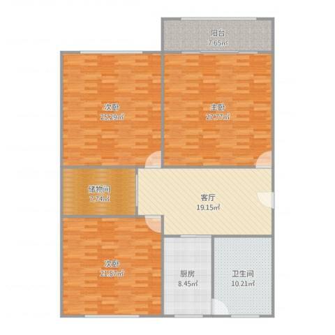 淞南五村3室1厅1卫1厨160.00㎡户型图