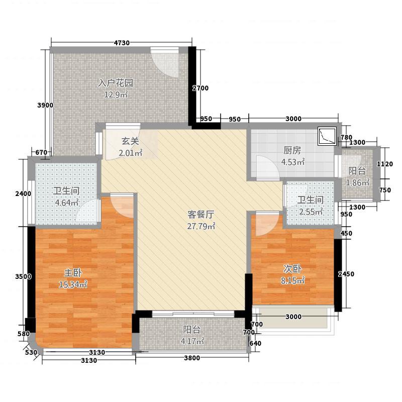东方・比华利山庄87.26㎡8栋单张户型3室2厅2卫1厨