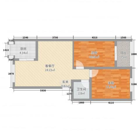 中建小区2室2厅1卫1厨89.00㎡户型图