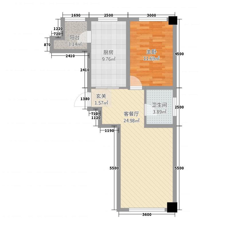 北大新城12182.20㎡C户型1室2厅1卫1厨