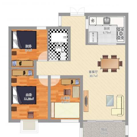 世茂君望墅3室2厅1卫1厨93.00㎡户型图