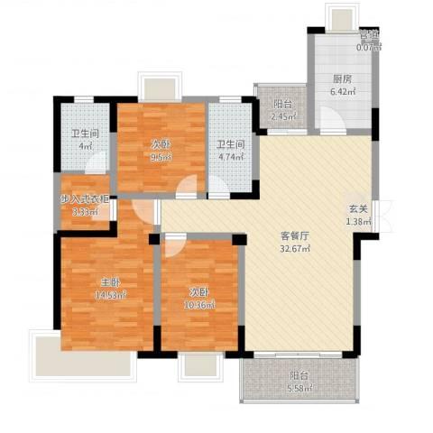 保集半岛3室2厅2卫1厨117.00㎡户型图
