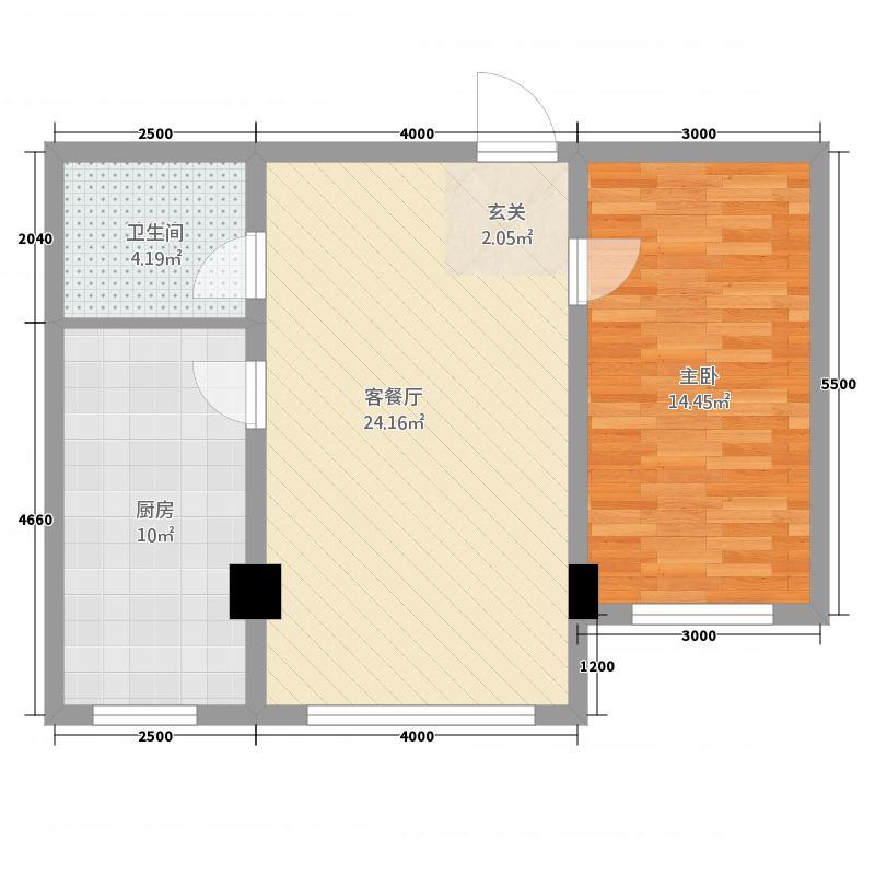 北大新城12178.20㎡b户型1室2厅1卫1厨
