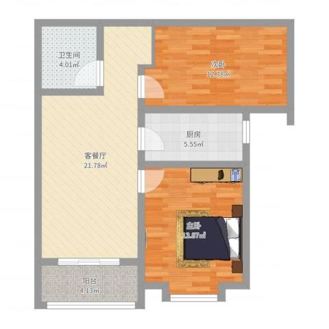 曦城2室2厅1卫1厨78.00㎡户型图