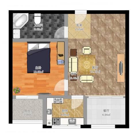 仁和佳苑1室2厅1卫1厨78.00㎡户型图