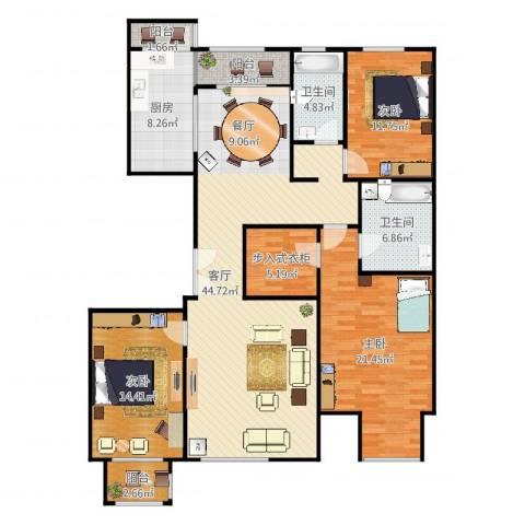 亿利城文澜雅筑3室1厅2卫1厨169.00㎡户型图
