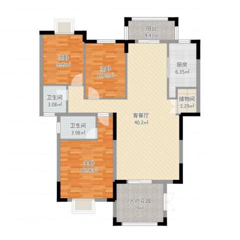 东江学府二期3室2厅2卫1厨151.00㎡户型图