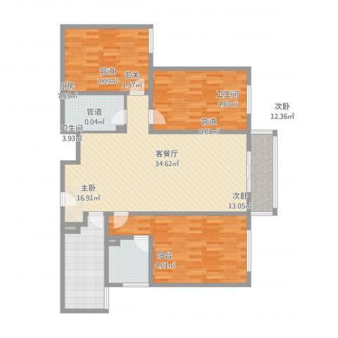 五龙花园3室2厅2卫1厨122.00㎡户型图