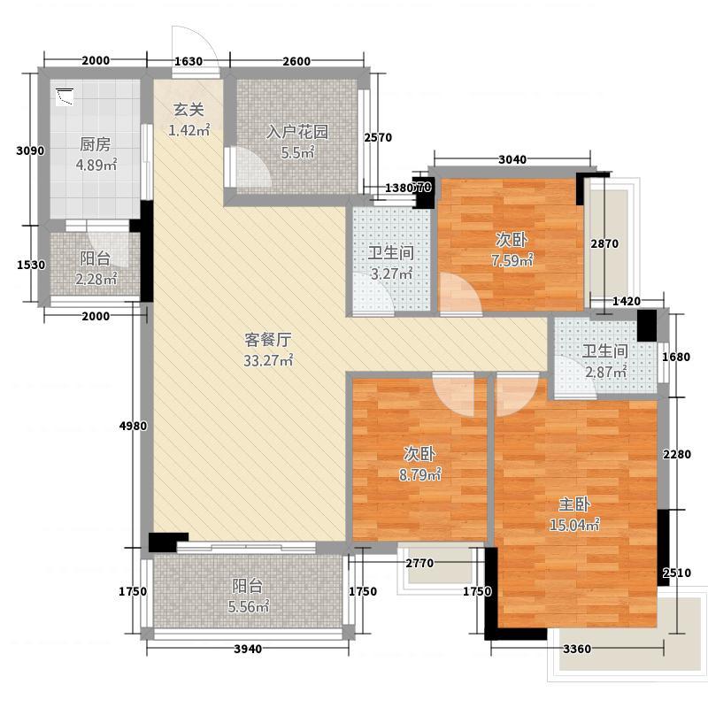 宝豪・御龙湾127.28㎡户型3室2厅2卫1厨