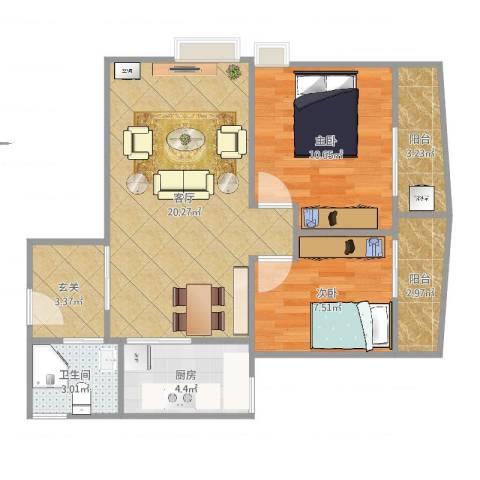 润汇大厦2室1厅1卫1厨69.00㎡户型图