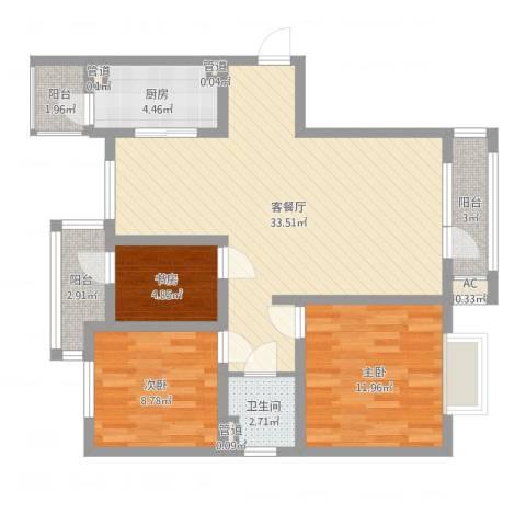 旭辉十九城邦3室2厅1卫1厨93.00㎡户型图
