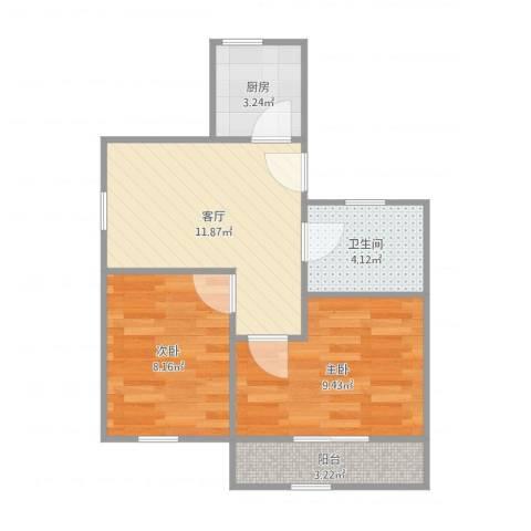 龙柏三村2室1厅1卫1厨50.00㎡户型图