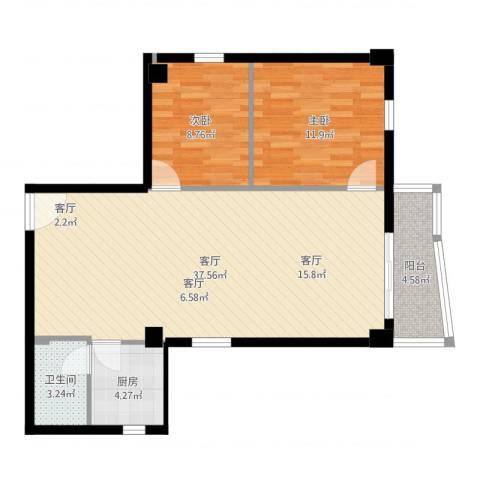 富力环市西苑2室1厅1卫1厨88.00㎡户型图