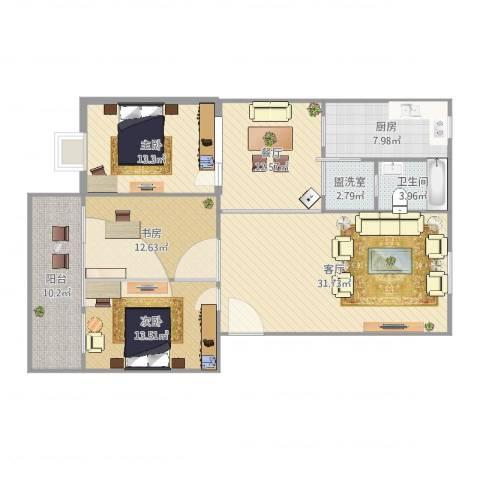 华都凤凰山庄3室4厅1卫1厨136.00㎡户型图