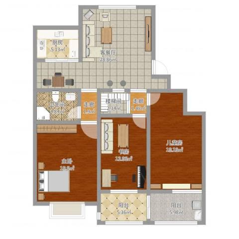 洄龙小区3室2厅1卫1厨136.00㎡户型图