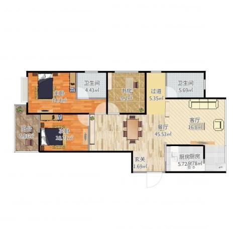 江南翡翠3室1厅2卫1厨127.00㎡户型图