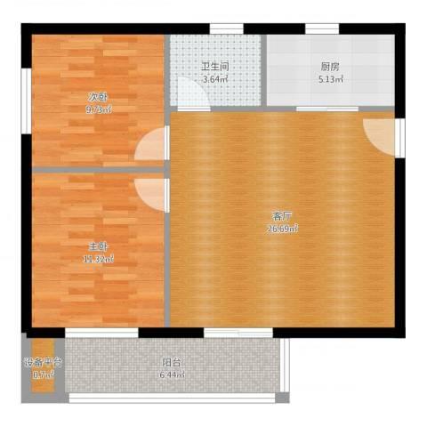 香格里拉尚城2室1厅1卫1厨80.00㎡户型图