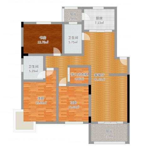 晨光绿苑3室2厅2卫1厨142.00㎡户型图