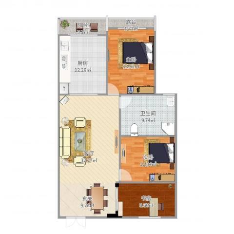 江南翡翠3室1厅1卫1厨115.00㎡户型图