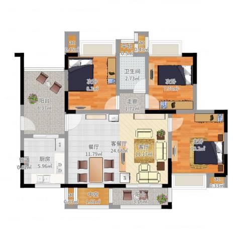 锦绣龙城八期鎏园3室2厅1卫1厨94.00㎡户型图