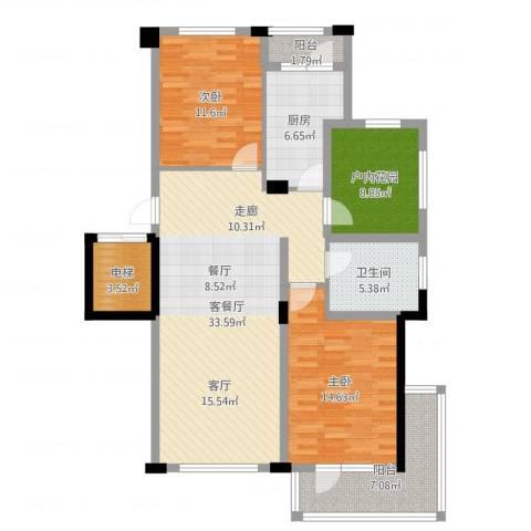 中铁・人杰水岸2室2厅1卫1厨115.00㎡户型图
