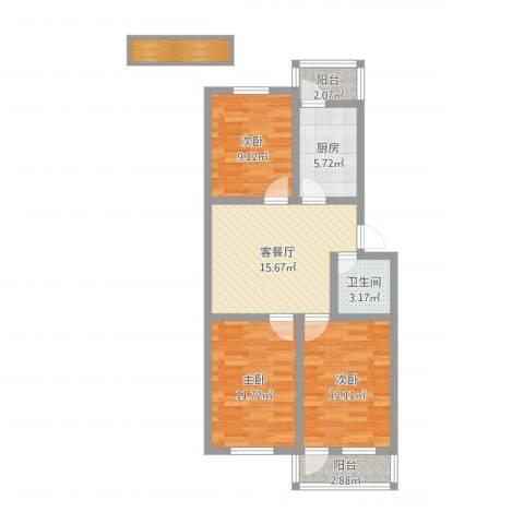 王官庄小区3室2厅1卫1厨81.00㎡户型图