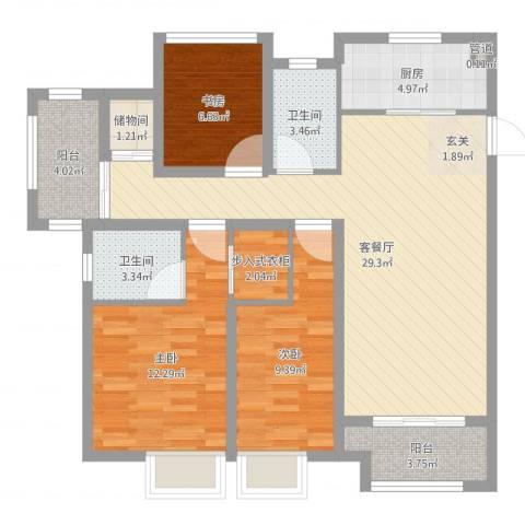 海亮香榭里3室2厅2卫1厨101.00㎡户型图