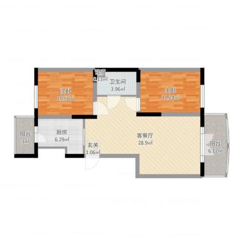 宏伟华轩2室2厅1卫1厨88.00㎡户型图