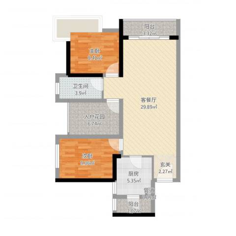 佳兆业御府2室2厅1卫1厨86.00㎡户型图