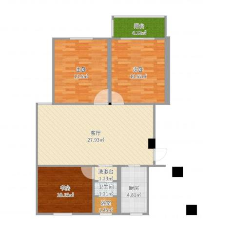 融康苑3室1厅1卫1厨97.00㎡户型图