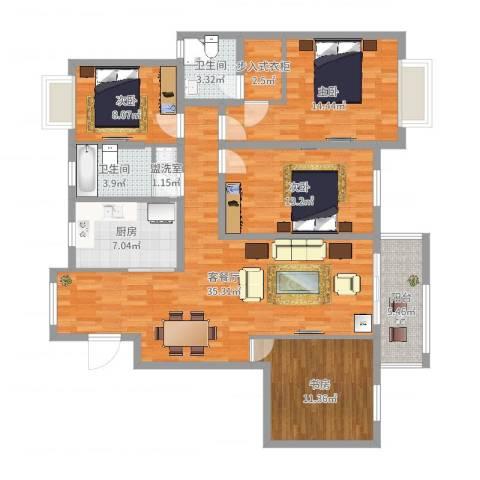 怡和花园4室4厅2卫1厨132.00㎡户型图