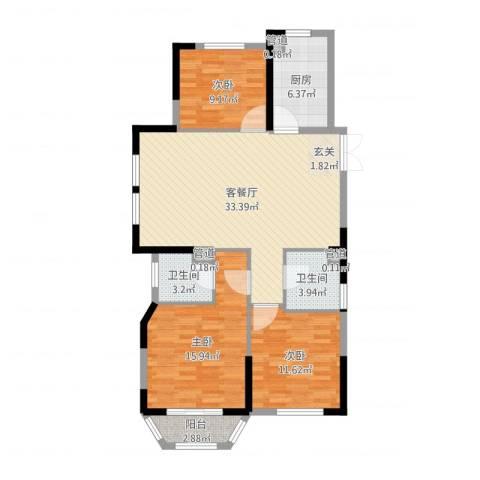 米兰花园3室2厅2卫1厨86.98㎡户型图