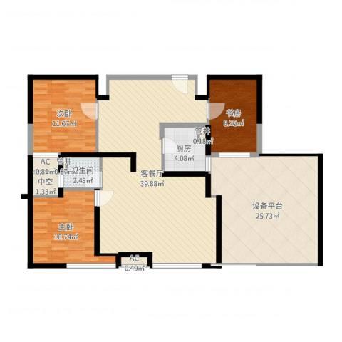 上海滩大宁城3室2厅7卫1厨131.00㎡户型图
