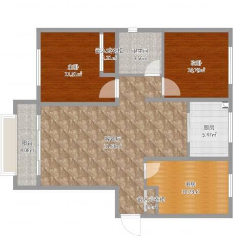 乐豪斯-无可比拟三室两厅-Lxl00013室2厅1卫1厨100.00㎡户型图
